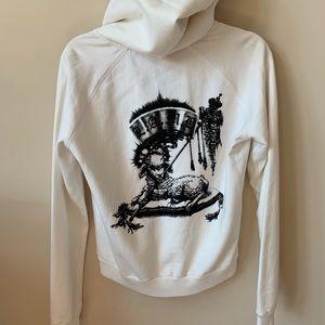L.A.M.B. cream full zip up logo back hoodie #123